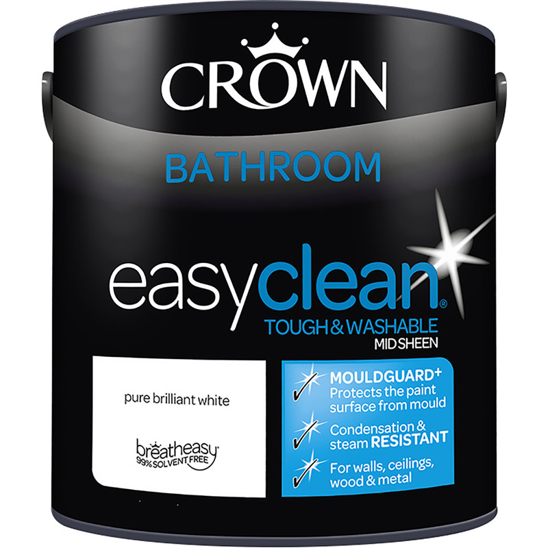 Brilliant Crown Breatheasy Bathroom Emulsion Paint 2 5L Pure Brilliant White Interior Design Ideas Inesswwsoteloinfo