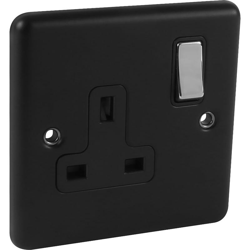 Wessex Matt Black Chrome 13A DP Socket