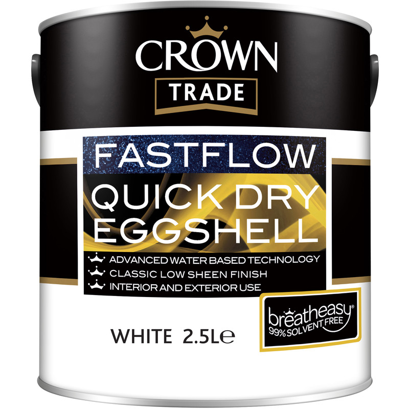Crown Trade Fastflow Quick Dry Eggshell Paint 2.5L