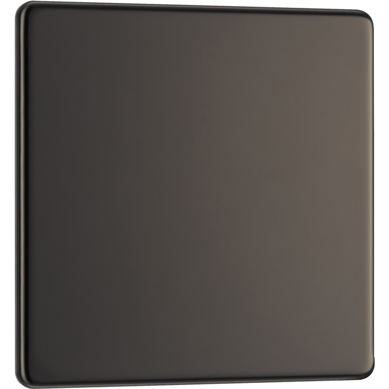 BG Screwless Flat Plate Black Nickel Blank Plate