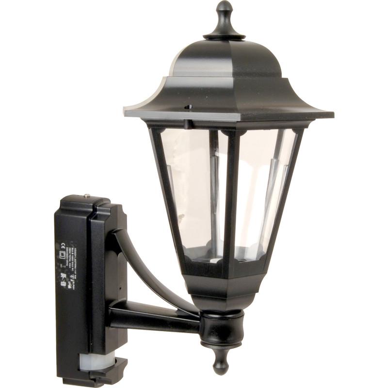 Black Coach lantern with PIR Security Light 100w Exterior Garden Light