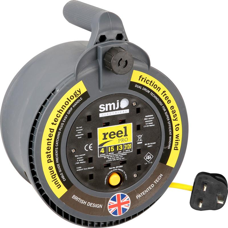 Smj Reel Pro 4 Socket 13a Enclosed Cable Reel 15m 240v