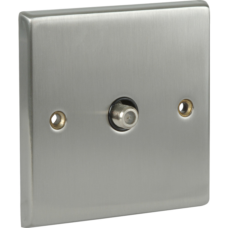 Satin Chrome / Black TV / Satellite Socket Outlet