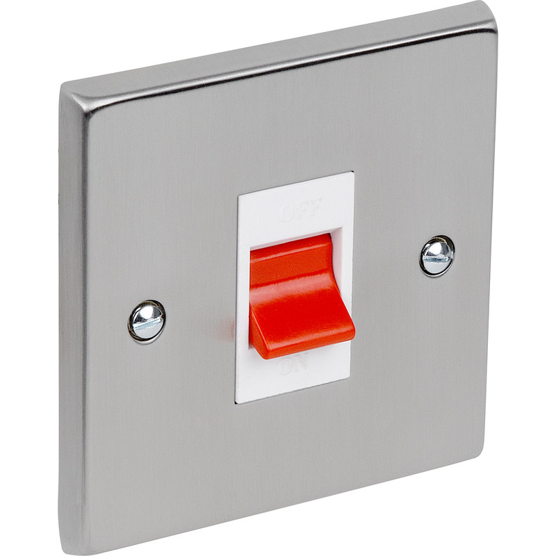 Satin Chrome / White Double Pole Switch 45A