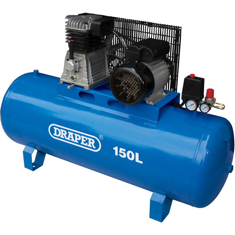 Draper 150L 2200W Stationary Belt-Driven Air Compressor
