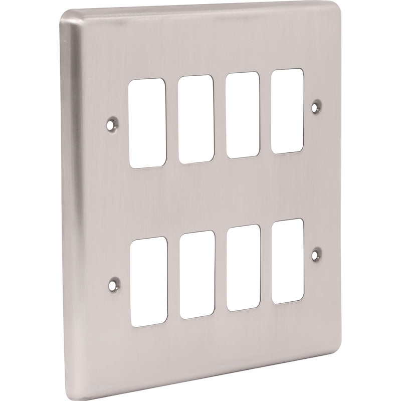Wessex Brushed Stainless Steel Grid Front Plate