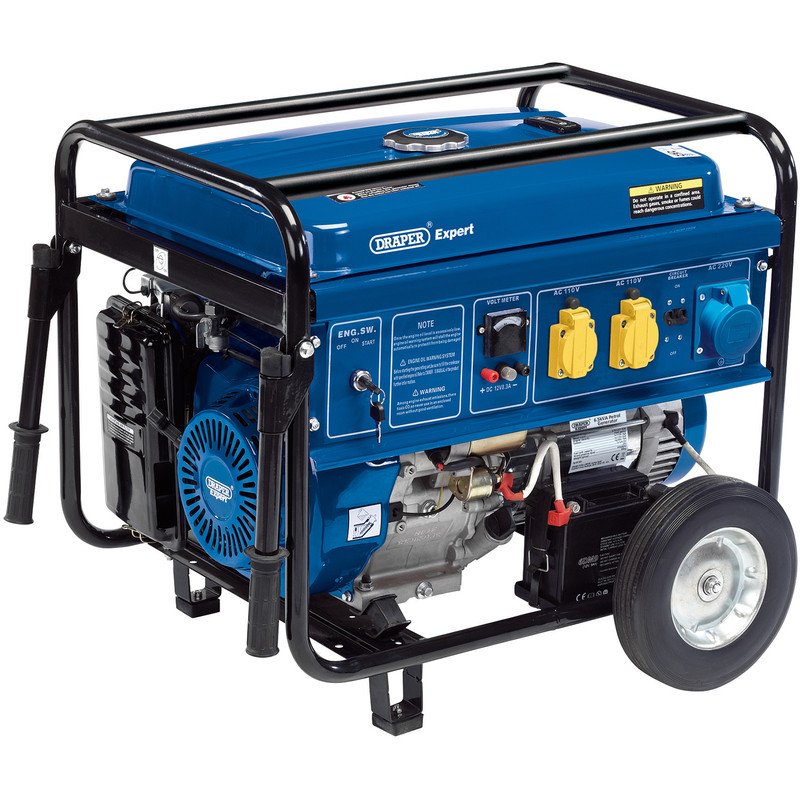 Draper 6.5KVA/6000W Petrol Generator with Wheels