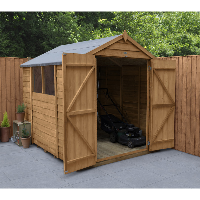 Forest Garden Overlap Dip Treated Double Door Apex Shed