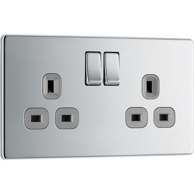 BG Screwless Flat Plate Polished Chrome 13A DP Switch Socket