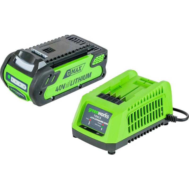 Greenworks 40V Li-Ion Battery 2 0Ah Battery & Charger Set