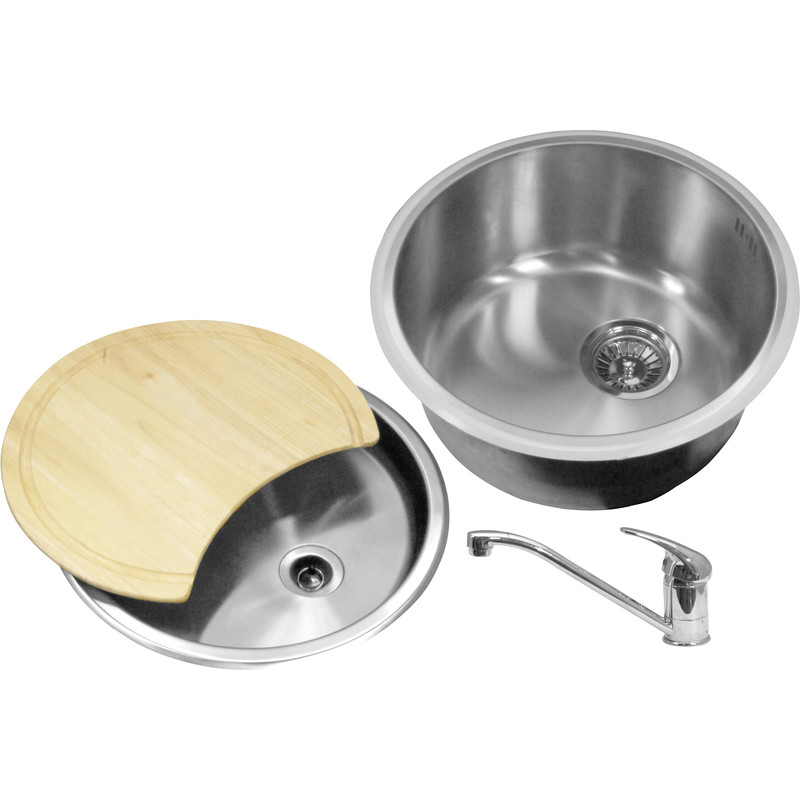 Round Bowl Kitchen Sink & Drainer Kit