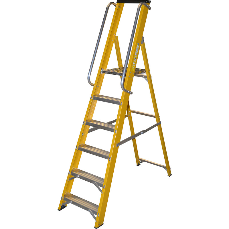 Lyte Heavy Duty Fibreglass Platform Step Ladder With Safety Handrail