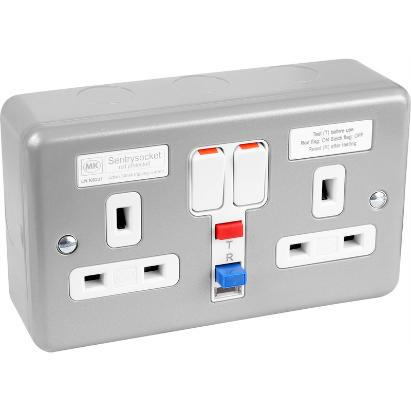 MK Metal Clad 13A RCD Switched Socket