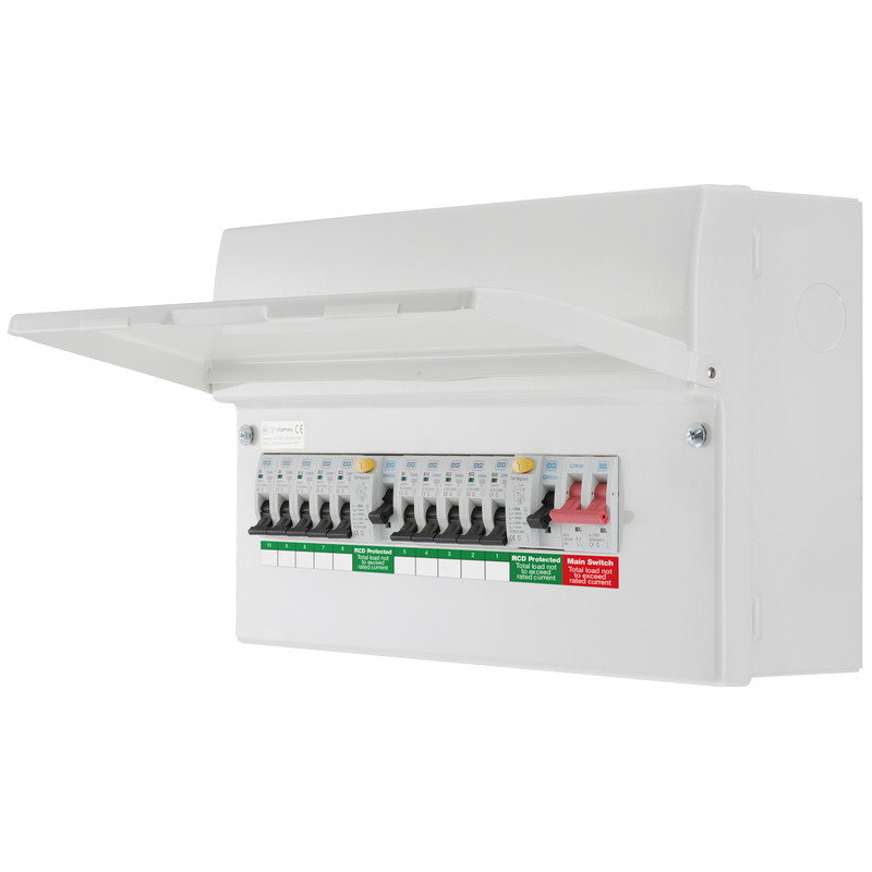 BG Metal Consumer Unit Dual RCD + 10 MCBs
