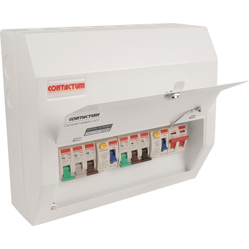 Contactum Metal 17th Edition Dual RCD + 6 MCBs Consumer Unit