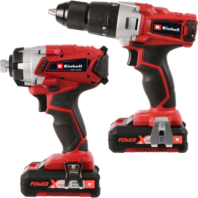 Einhell Power X-Change 18V Li-Ion Cordless Combi Drill & Impact Driver Twin Pack