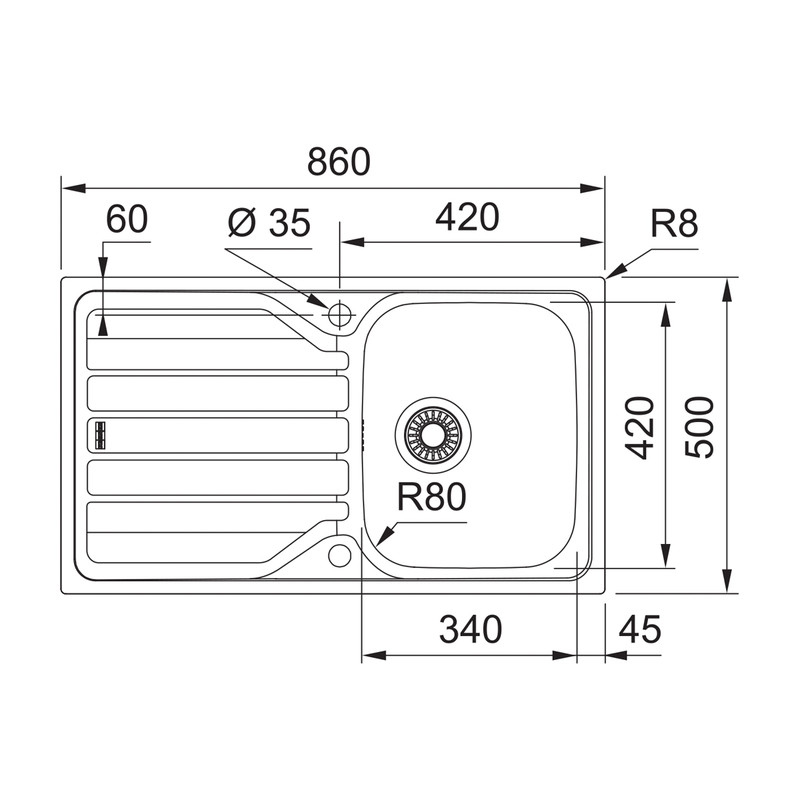 Franke Flash Reversible Stainless Steel Kitchen Sink & Drainer