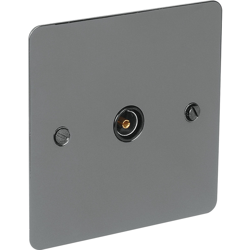 Flat Plate Black Nickel TV Socket Outlet