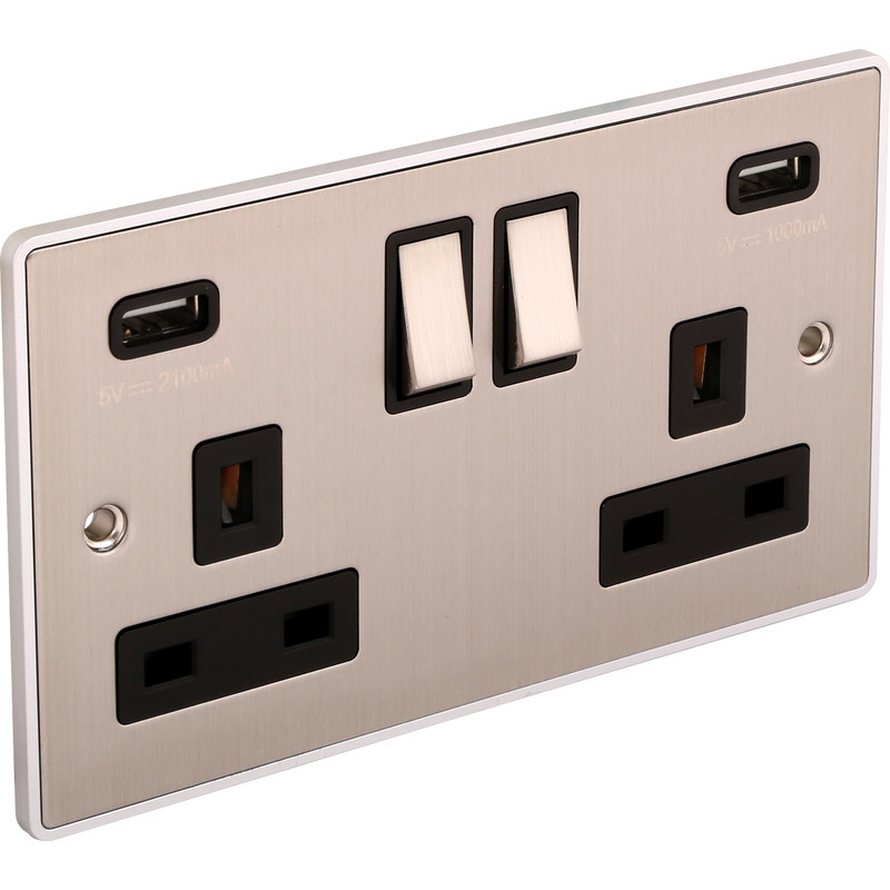 Urban Edge Brushed Chrome Double USB Socket