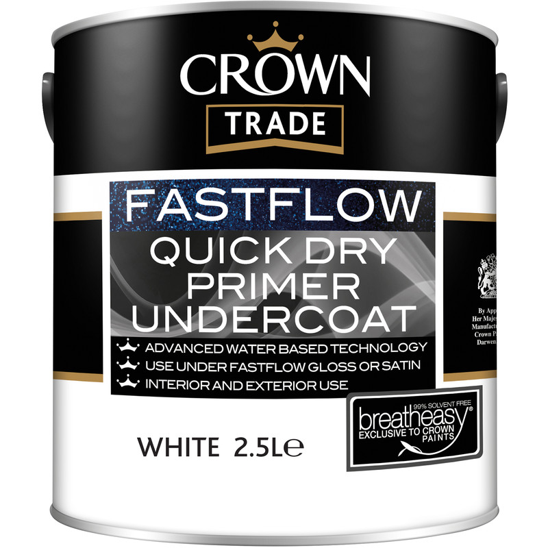 Crown Trade Fastflow Quick Dry Primer Undercoat Paint 2.5L
