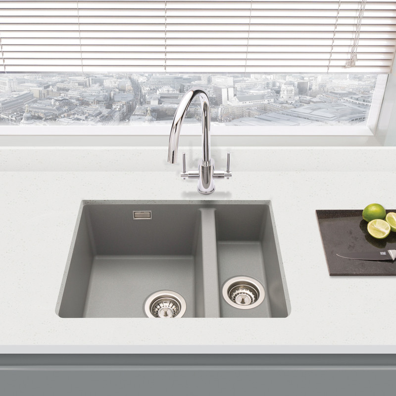 Granite Composite 1 1 2 Bowl Undermount Kitchen Sink Grey