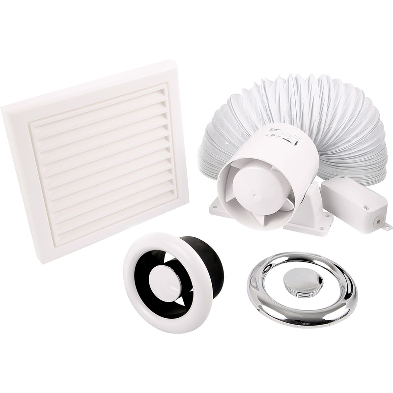 Xpelair 100T 100mm Shower Extractor Fan Kit