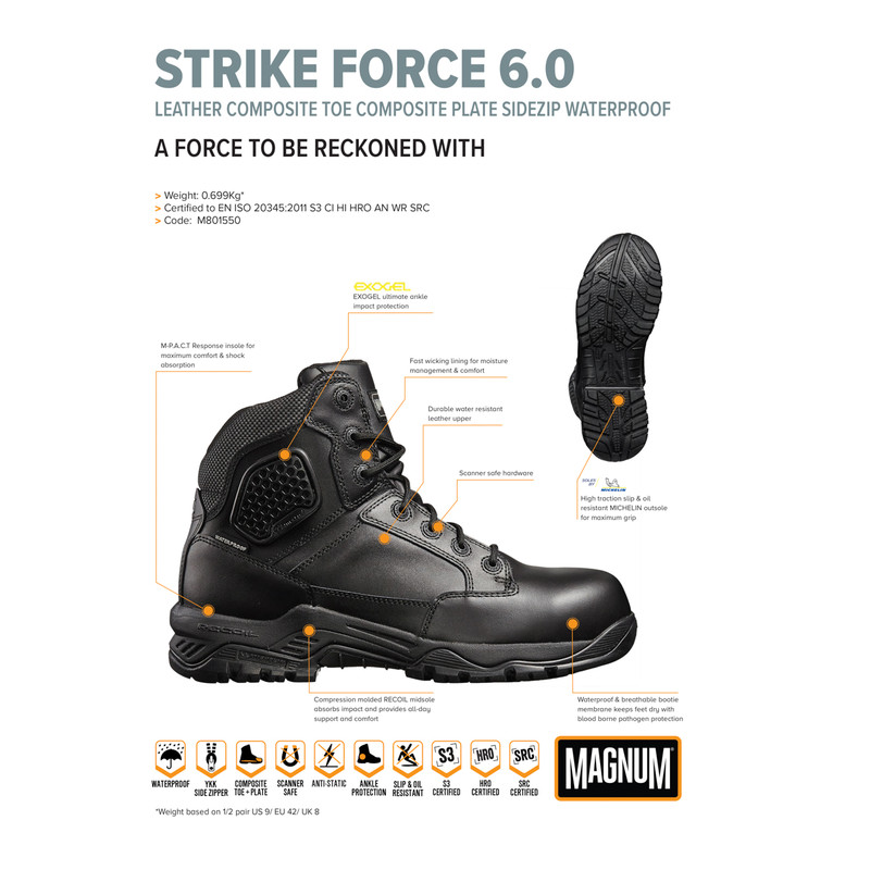 "Magnum Strike Force Waterproof Safety Boots (8"")"