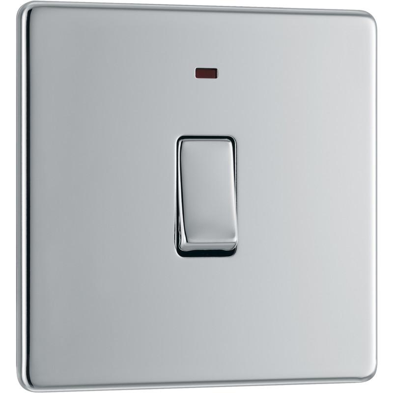 BG Screwless Flat Plate Polished Chrome 20A DP Switch