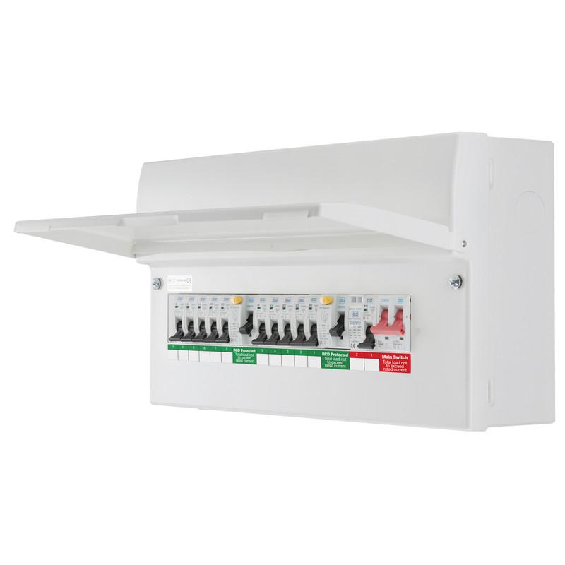BG Metal 18th Edition Dual RCD Type A + 10 MCBs + SPD Consumer Unit