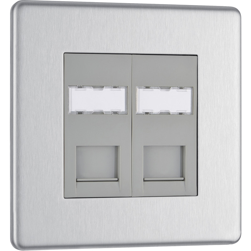 BG Screwless Flat Plate Brushed S/S RJ45 Outlet