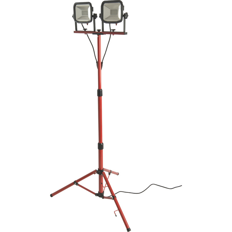 230V Luceco LED Slimline Twin Tripod Work Light IP65