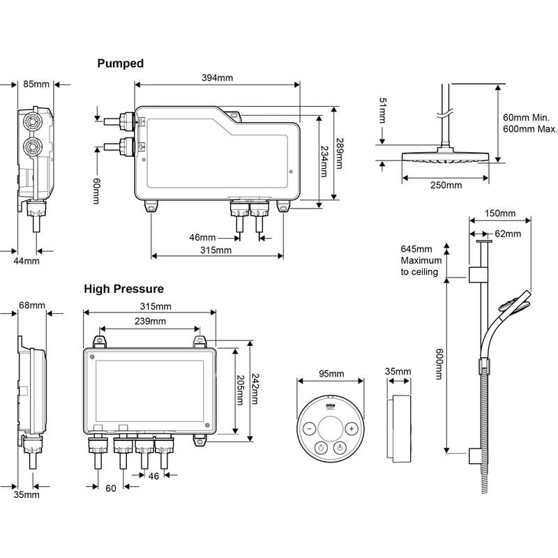 Mira Platinum Dual Thermostatic Digital Mixer Shower