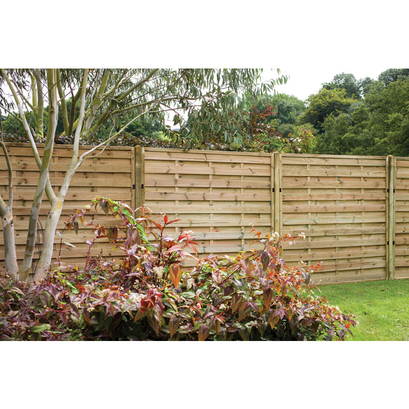 Forest Garden Pressure Treated Horizontal Hit & Miss Fence Panel - 3 Pack