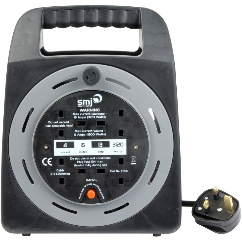 SMJ 4 Socket 13A Semi-enclosed Cable Reel