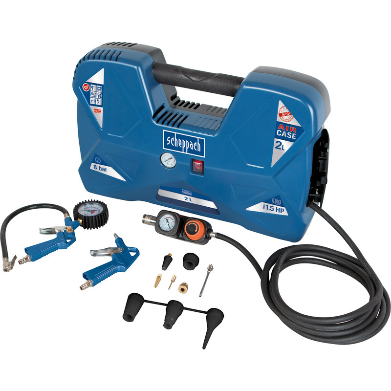 Scheppach Air Case 1100W 1.5hp 2L Oil Free Portable Air Compressor