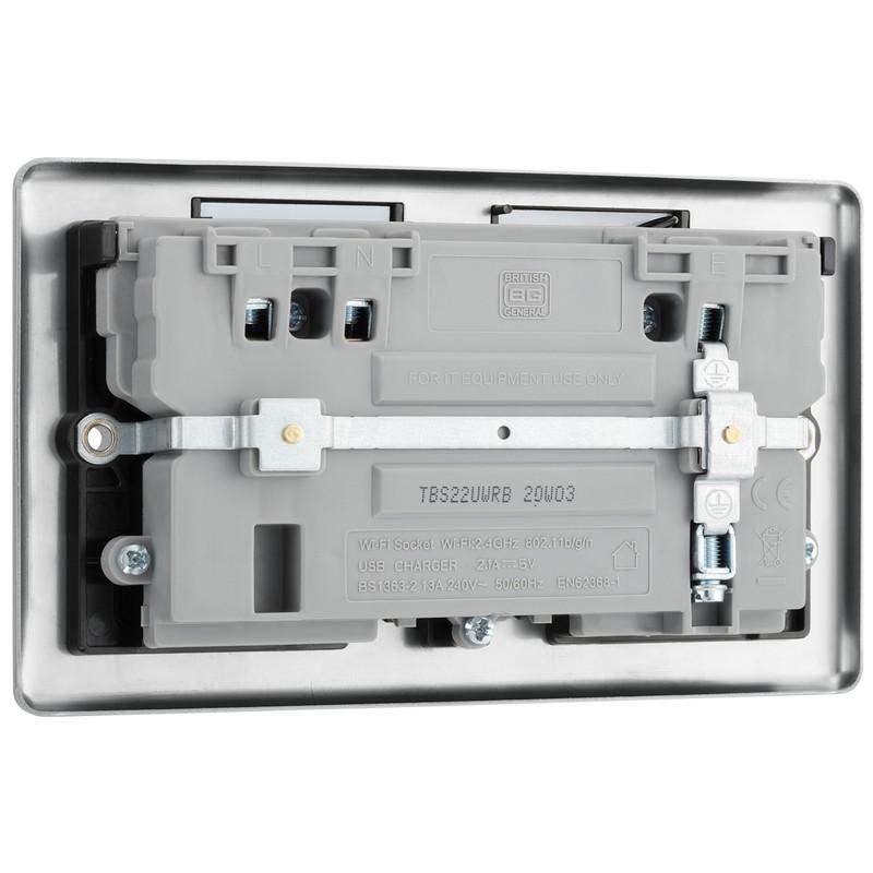 BG Brushed Steel 13A Black Insert WiFi Extender & USB Socket