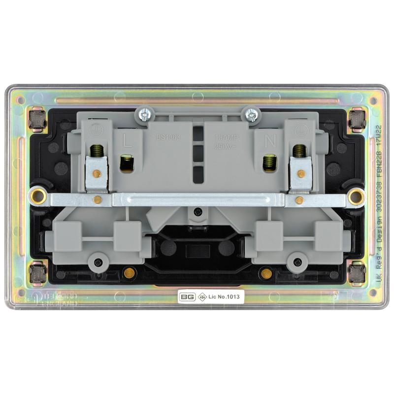 BG Screwless Flat Plate Black Nickel 13A DP Switch Socket