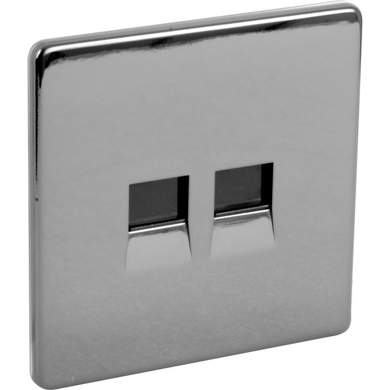 BG Screwless Flat Plate Black Nickel Telephone Socket