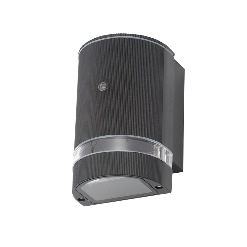 Helios Up or Down Black Dusk to Dawn Photocell Wall Light IP44