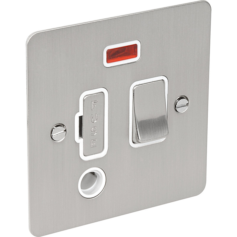 Flat Plate Satin Chrome Fused Spur 13a Switched   Neon   Flex Outlet