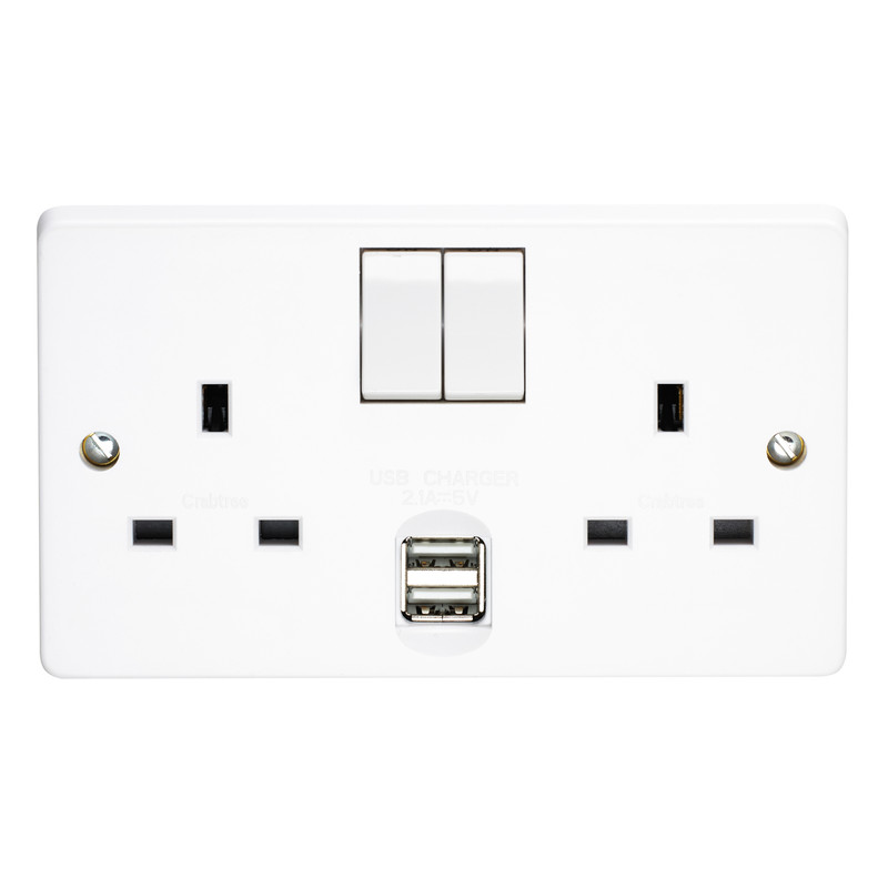 Crabtree 2G USB Switched Socket