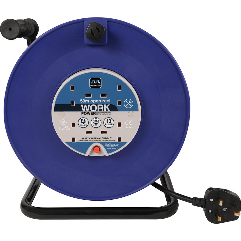 Masterplug 4 Socket 13A Open Cable Reel