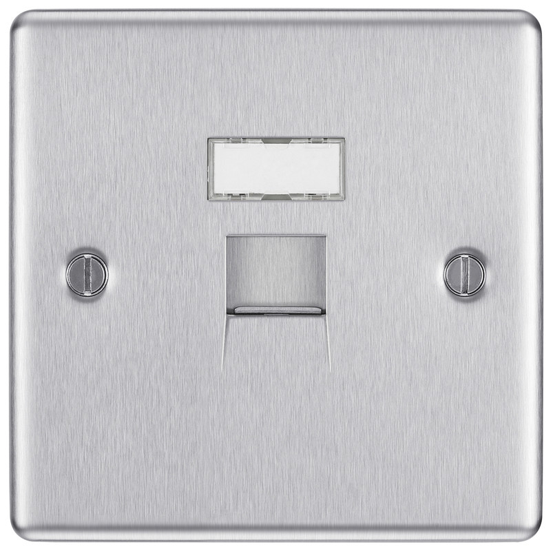 BG Brushed Steel Telephone Socket