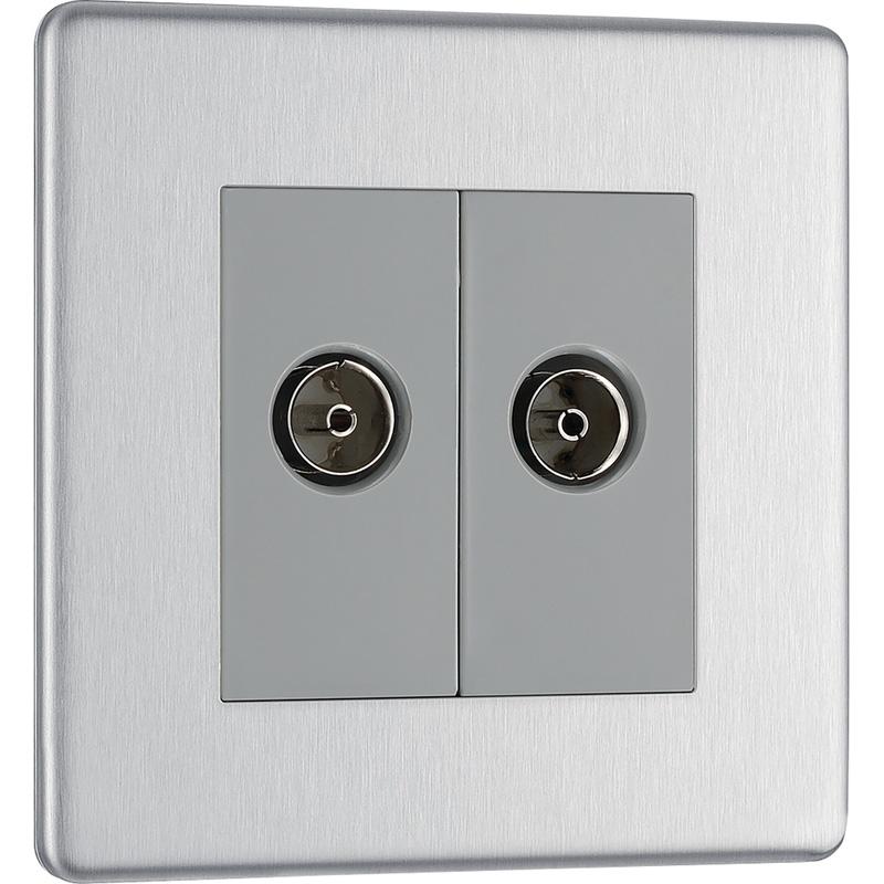 BG Screwless Flat Plate Brushed Stainless Steel TV Sockets