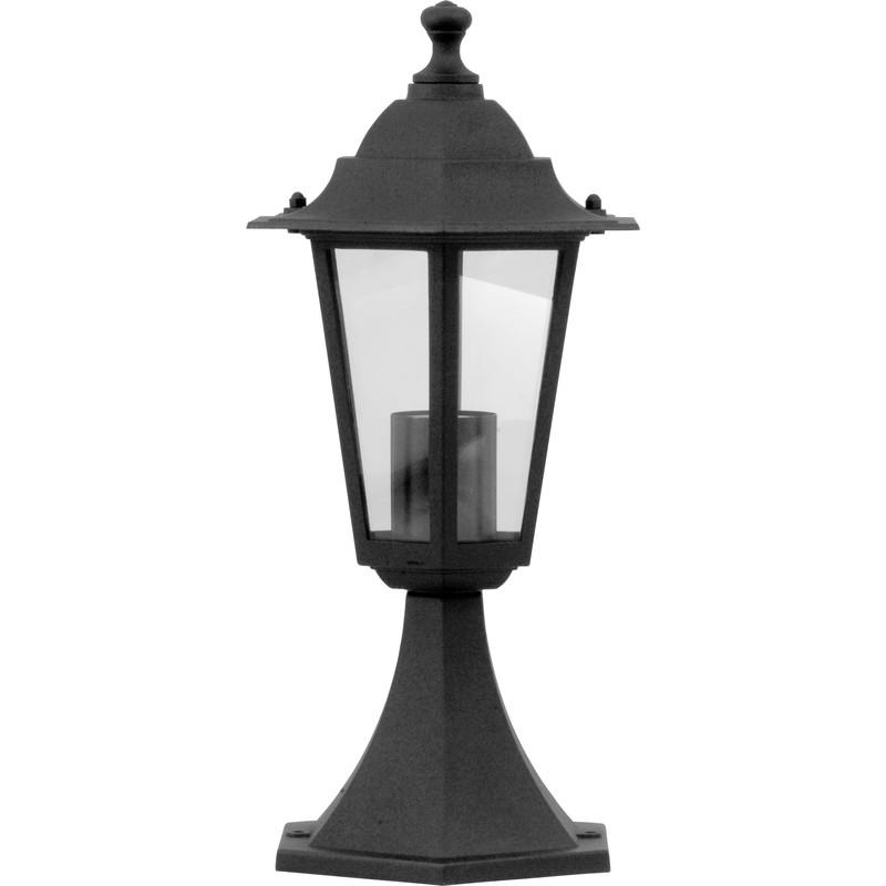 Cheltenham Cast Pedestal Lantern Light Black: Victorian Style Pedestal Lantern Black 60W ES