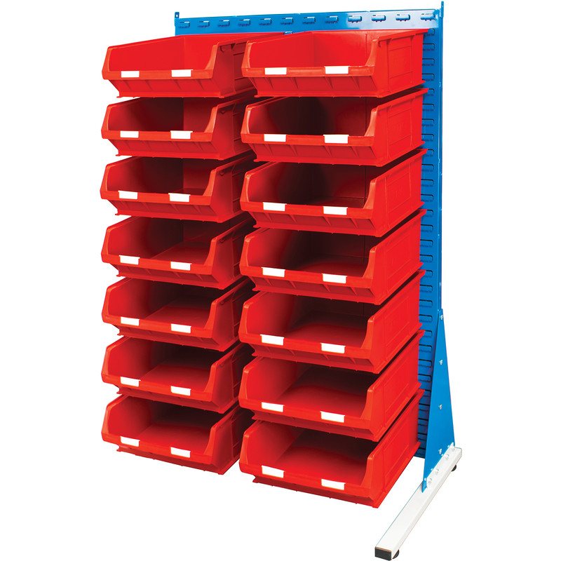 Barton Steel Louvre Panel Adda Stand with Red Bins 1600 x 1000 x 500mm