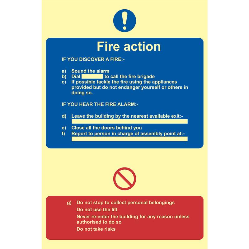 Photoluminescent Fire Action Procedure Sign