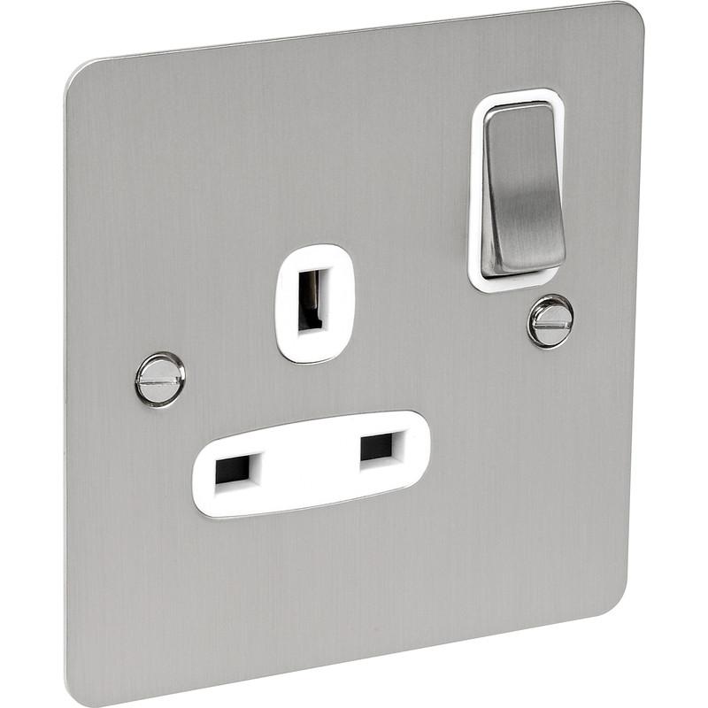 Flat Plate Satin Chrome 13A Socket