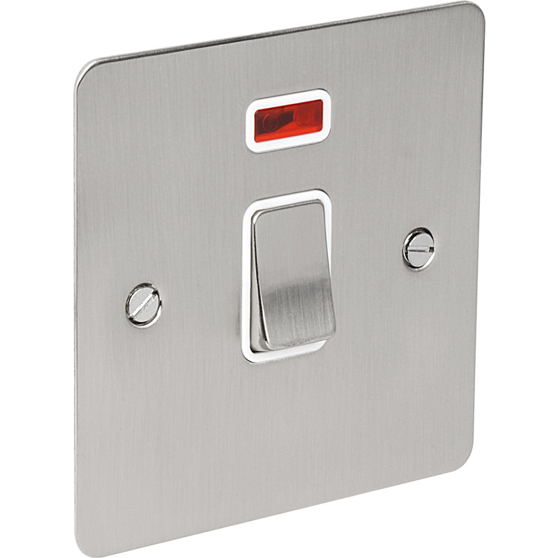 Flat Plate Satin Chrome DP Switch 20A