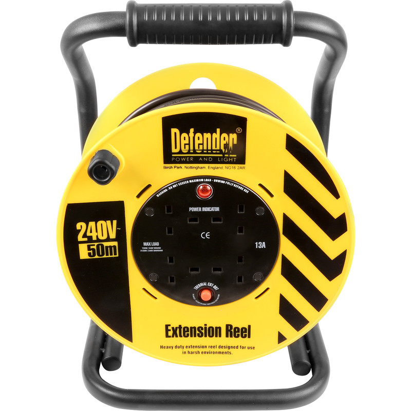 Defender Heavy Duty 13A Open Cable Reel